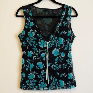 New York & Company Brown and Green Floral Top XS